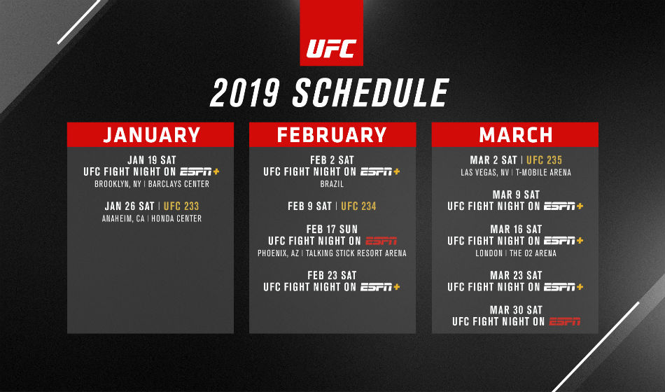 UFC first quarter 2019 schedule