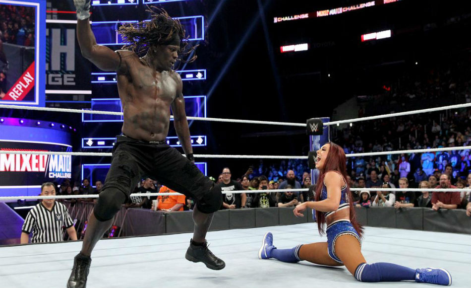 R-Truth (left) and Carmella during WWE MMC (image courtesy WWE.com)