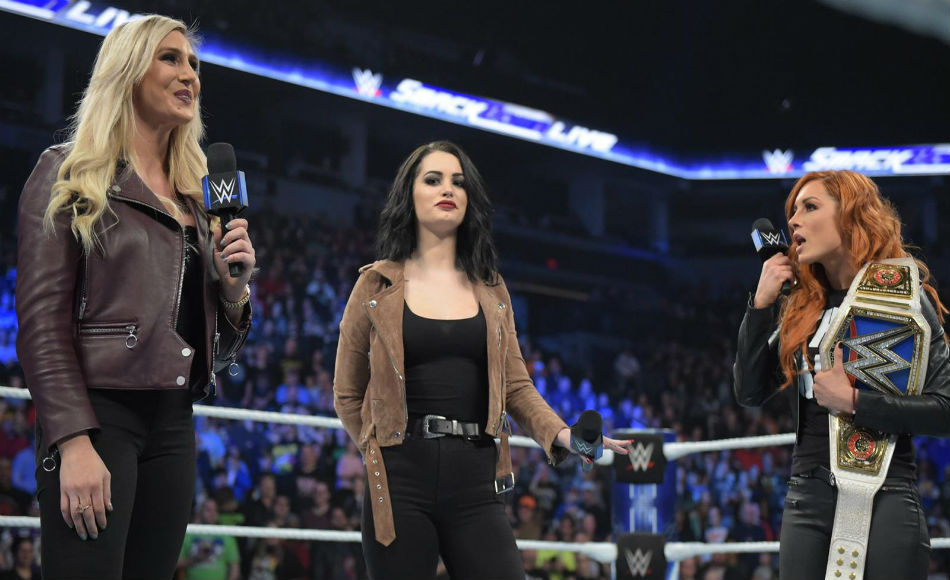 From left, Charlotte, Paige, and Becky on Smackdown (image courtesy WWE.com)