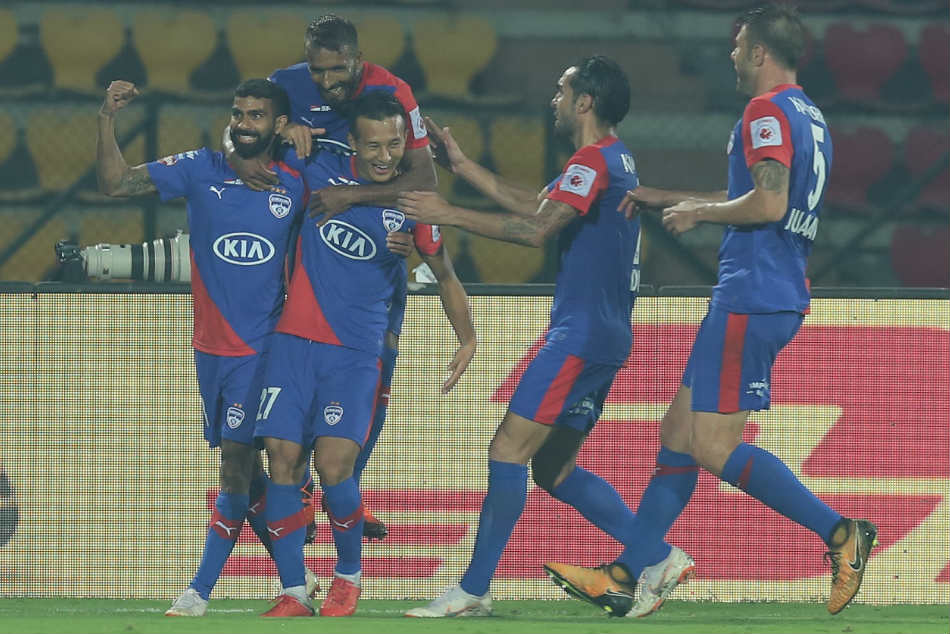 BFC players celebrate their equaliser against NEUFC. Credit: ISL Media