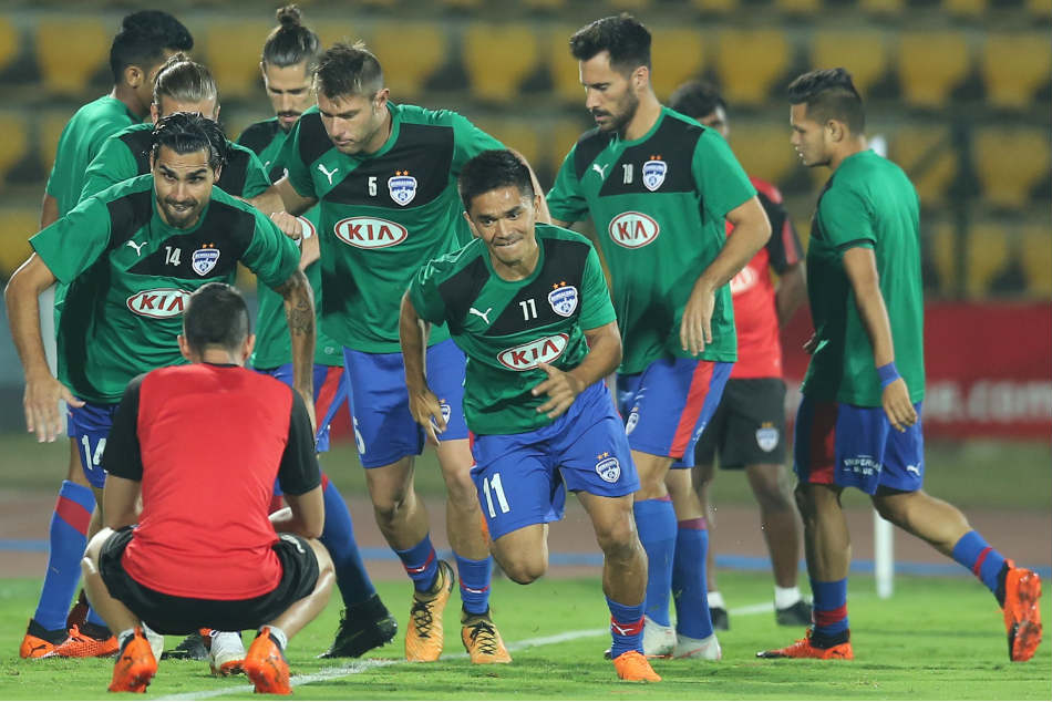 Bengaluru FC players warm up during their training session. Credit: ISL Media