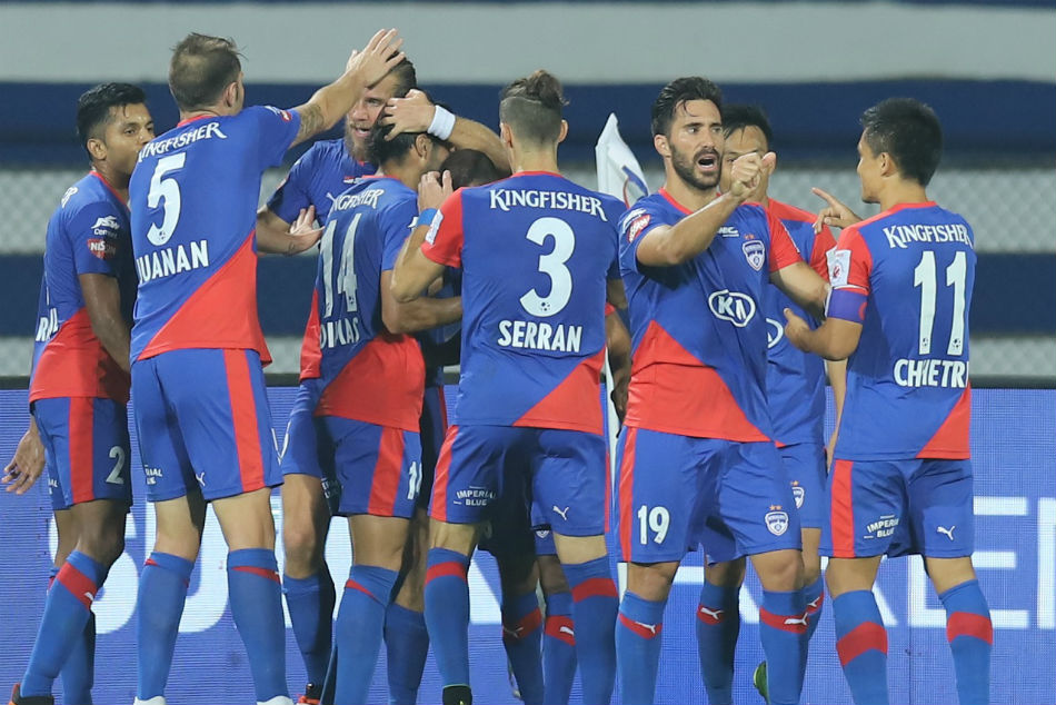 Bengaluru FC players celebrate the win. Image: ISL Media