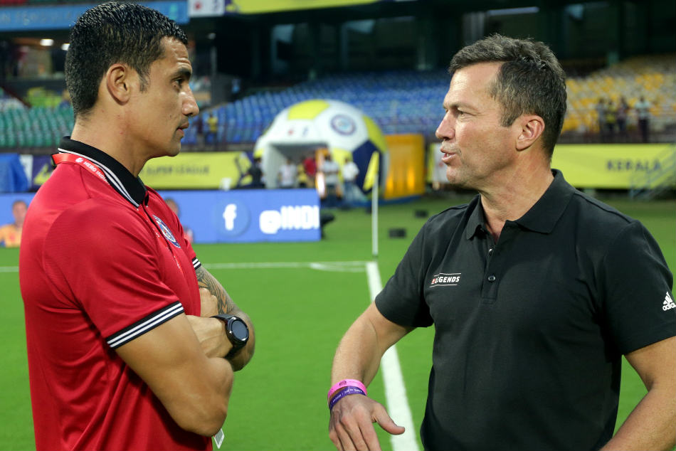 Lothar Herbert Matthaus, German Football legend and former player interacts with Tim Cahill of Jamshedpur FC before the start of the match. Credit: ISL Media