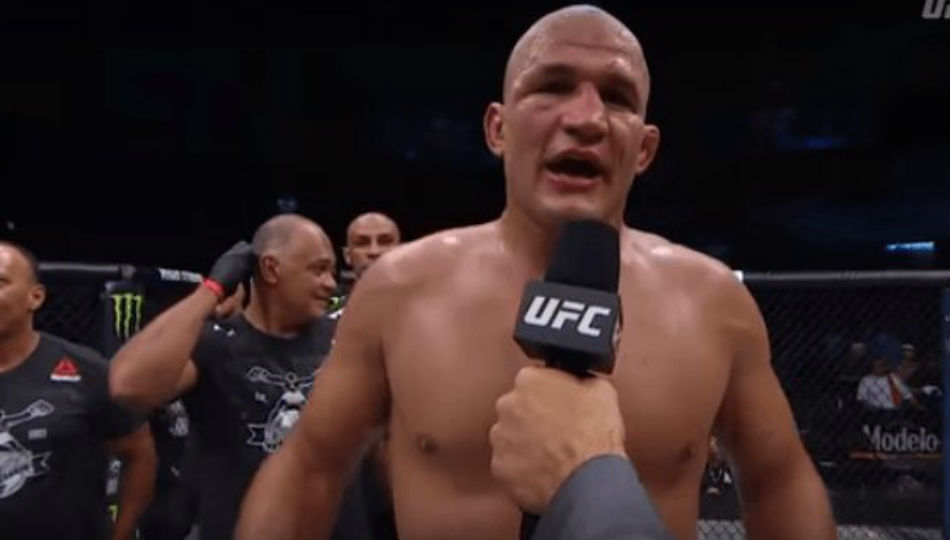 Junior dos Santos during the Octagon interview (Image Courtesy: Youtube)