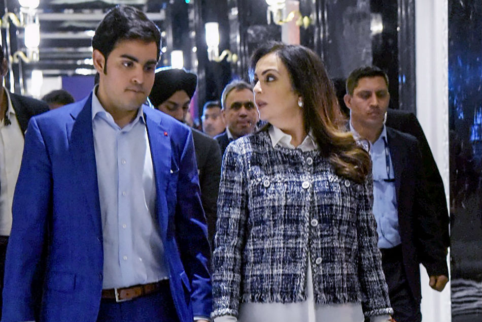 Mumbai Indians owners Nita Ambani and Akash Ambani after the Indian Premier League players auction in Jaipur.