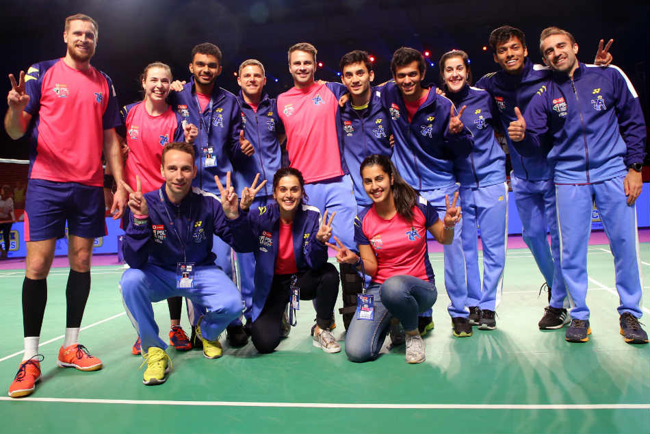 The Pune team celebrate their win over Mumbai Rockets