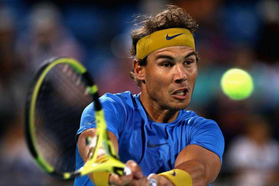 Rafael Nadal in action at the World Tennis Championship