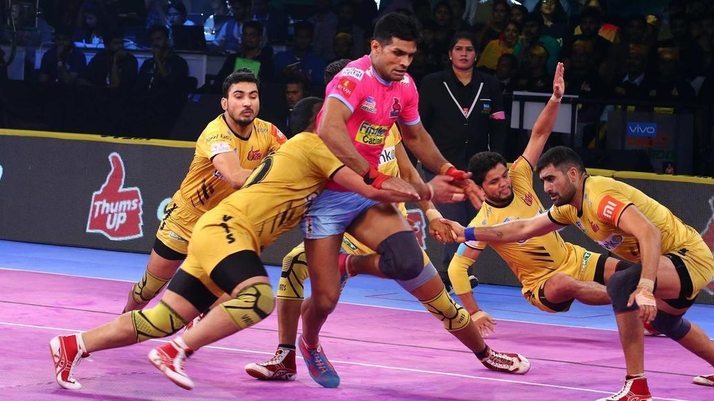 Pkl 2018 Telugu Titans Register First Win Home Leg Beat Jaipur Pink Panthers