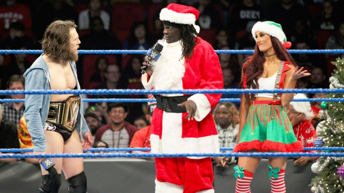 From left, Daniel Bryan, R-Truth & Carmella on Smackdown (image courtesy WWE.com)