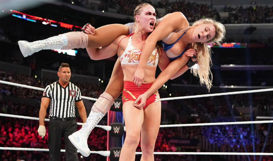 Ronda Rousey-Charlotte Flair at Survivor Series (image courtesy WWE)