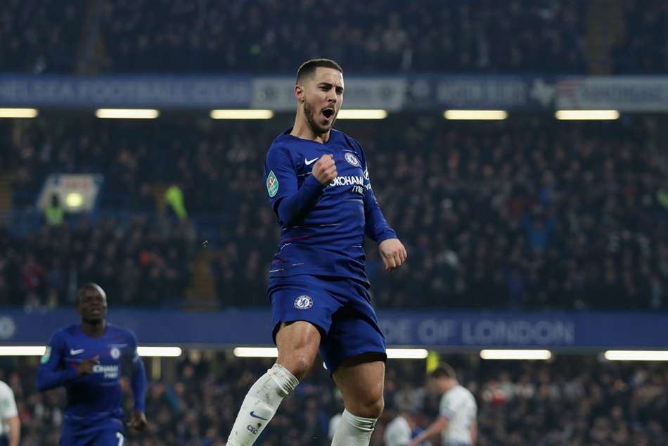 Eden Hazard celebrates after scoring Chelseas second in EFL Cup clash with Tottenham