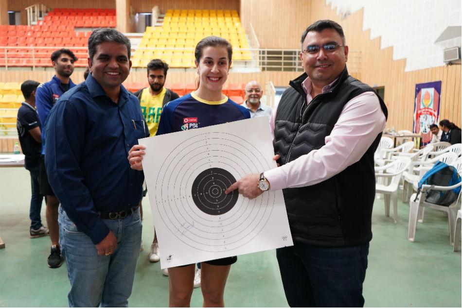 Olympic Medallist Gagan Narang Gives Shooting Tips Badminton Star Carolina Marin