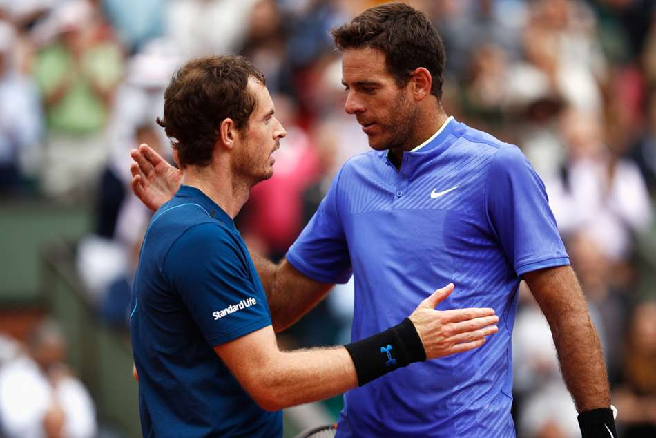 Juan Martin del Potro (right) urges Andy Murray to keep fighting