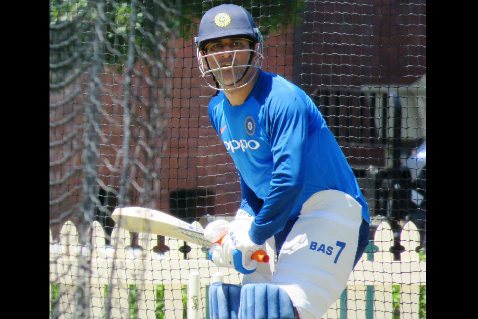 Dhoni sweats it out in the nets