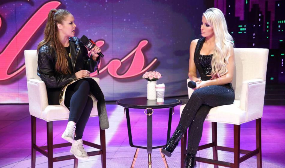 Ronda Rousey on Moment of Bliss talk-show (image courtesy WWE)
