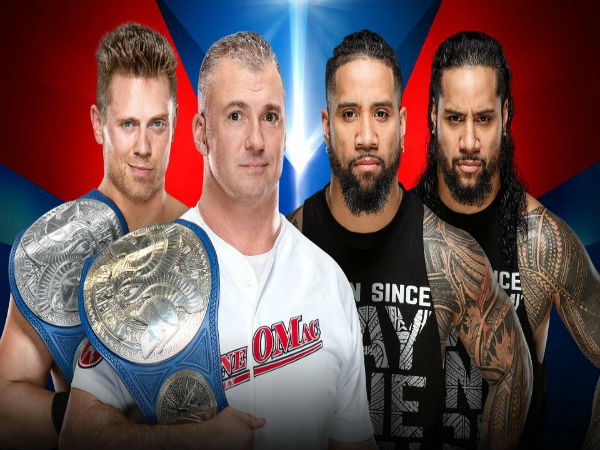 2. Smackdown Tag Team Championship Match: The Miz and Shane McMahon (c) vs. The Usos (Jey Uso and Jimmy Uso)