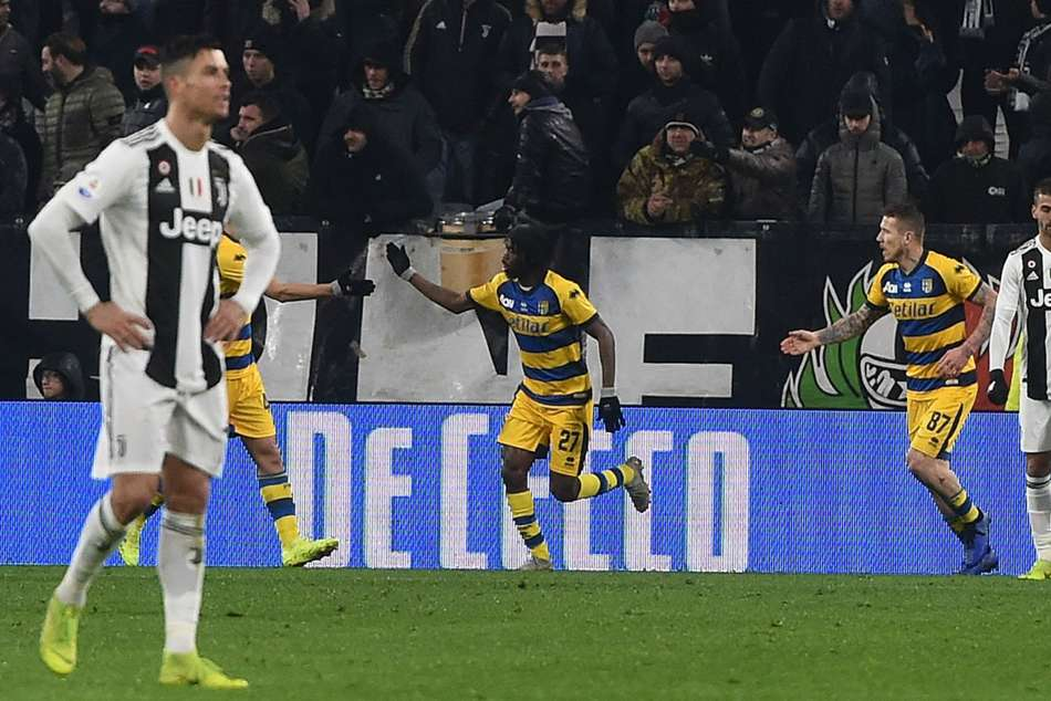 Parmas Gervinho (centre) struck twice to snatch a draw at Juventus