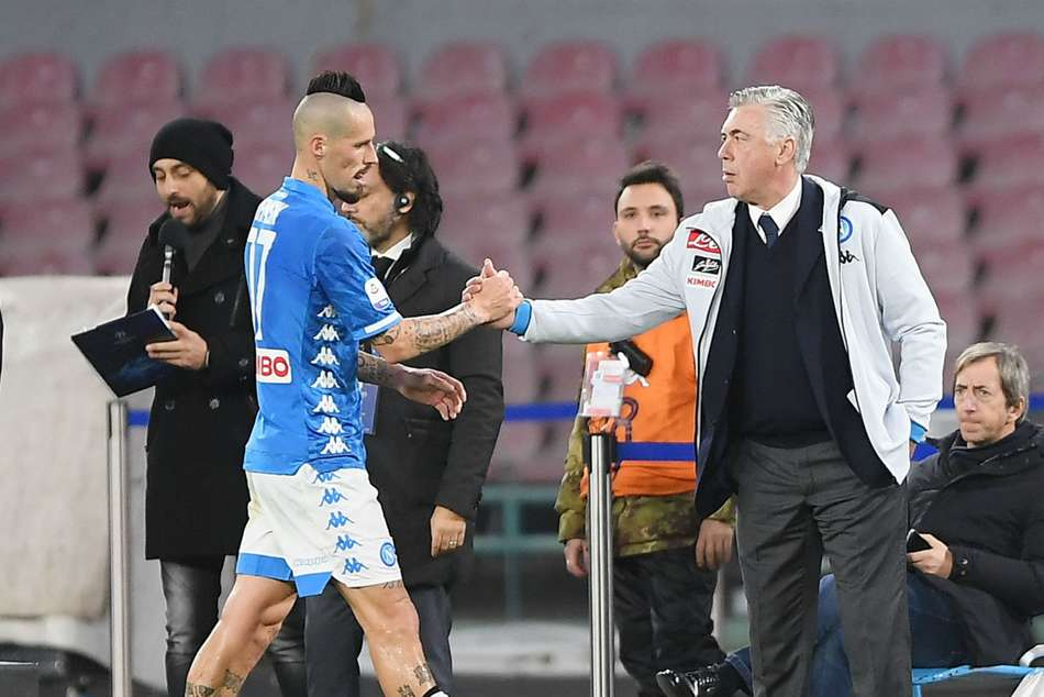Marek Hamsik (left) on the verge of leaving Napoli