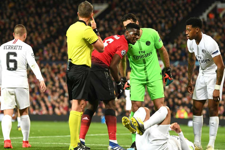 Manchester Uniteds Paul Pogba received the marching orders for second yellow card