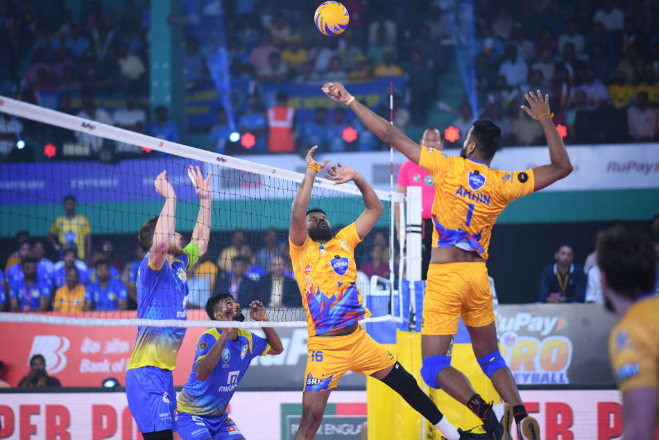 Pro Volleyball League Kochi Blue Spikers Register Comeback Win Beating Chennai Spartans 3