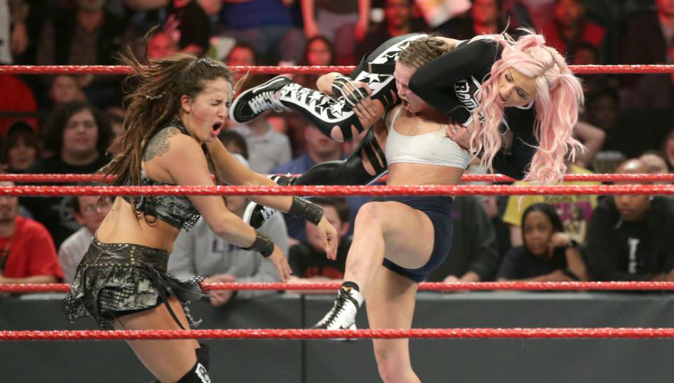 Ronda Rousey in action on WWE Raw (image courtesy WWE.com)