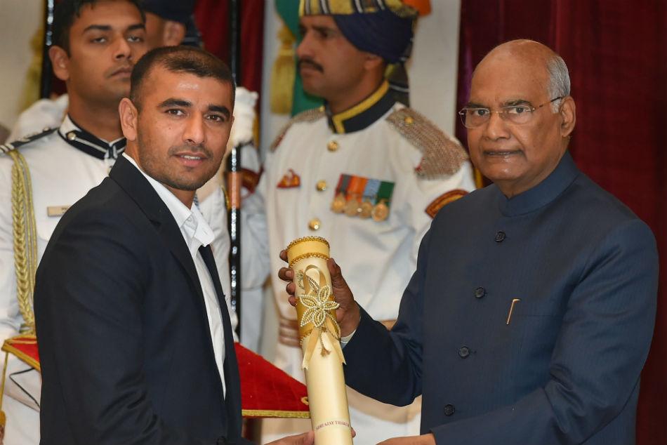 President Ram Nath Kovind Confers Padma Shri Bajrang Punia Sharath Kamal Ajay Thakur