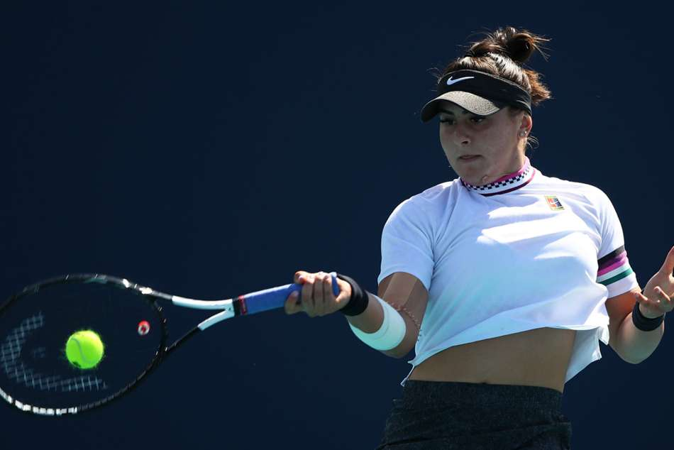 Bianca Andreescu in action at the Miami Open