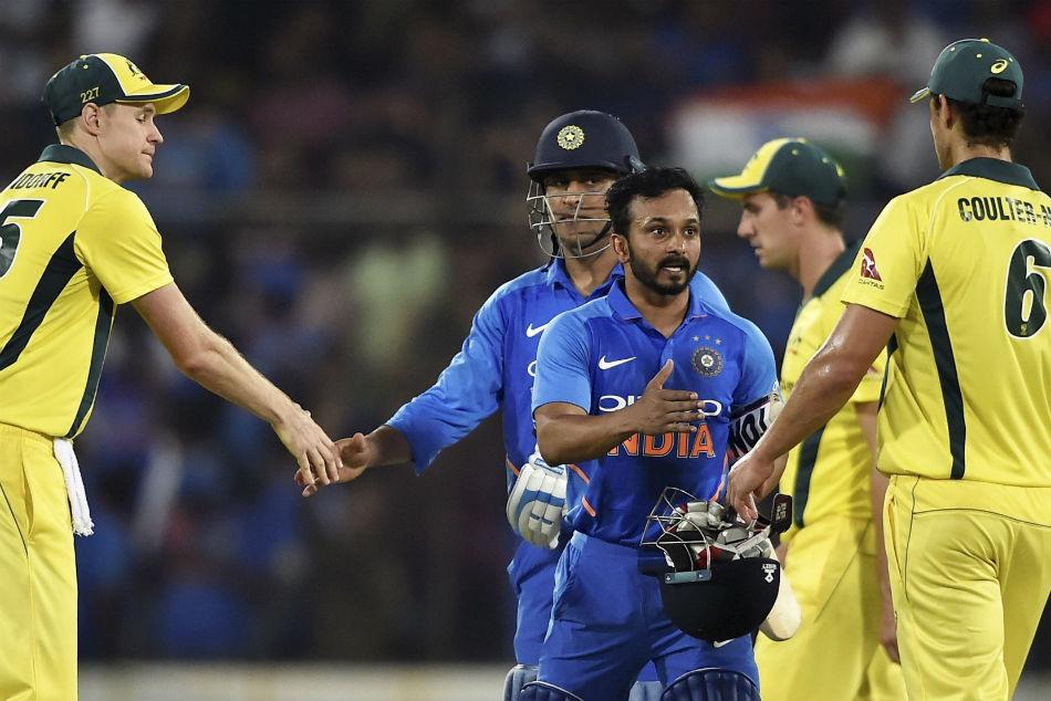 India Vs Australia 1st Odi Ms Dhoni Kedar Jadhav Shine As Team India Beat Australia See Pics