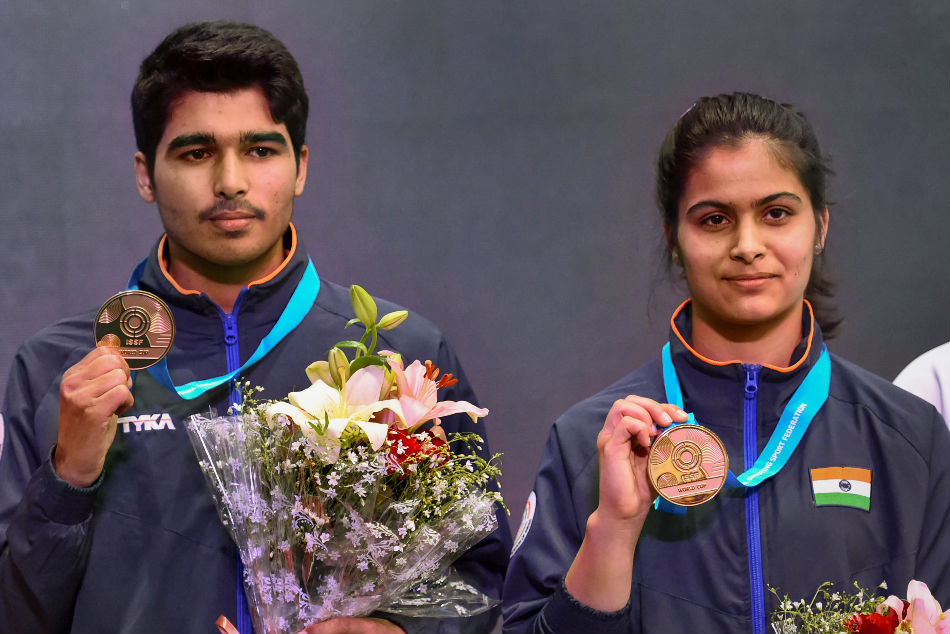 Indian shooting stars Saurabh Chaudhary and Manu Bhaker (right) smashed the qualification world record at the Asian Airgun Championship