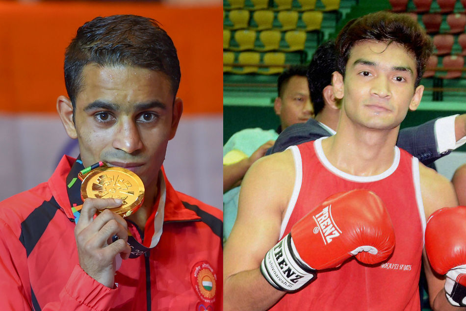 Amit Panghal (left) and Shiva Thapa in Indian mens boxing team for Asian Championships