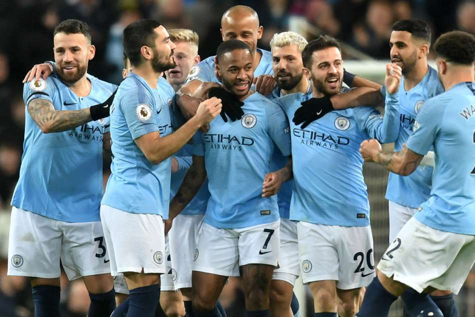 An offside controversy helped to launch Raheem Sterlings match-winning hat-trick as Manchester City went four points clear of Liverpool.