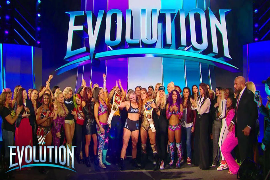 WWE Women superstars at Evolution PPV (image courtesy Youtube)