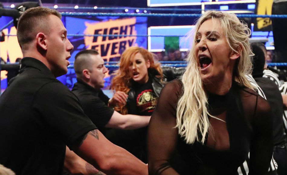 Charlotte and Becky in a brawl on Smackdown (image courtesy WWE.com)