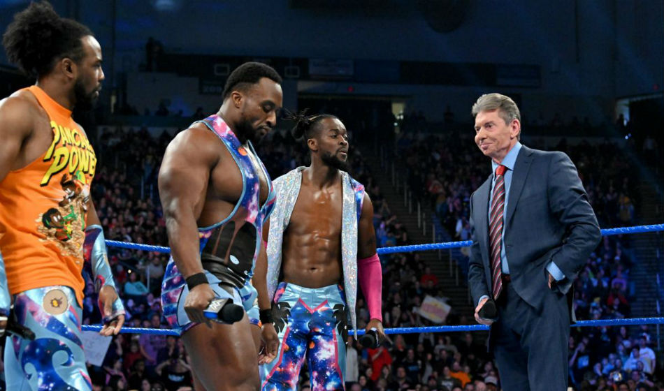 Vince McMahon and The New Day on Smackdown Live (image courtesy WWE)