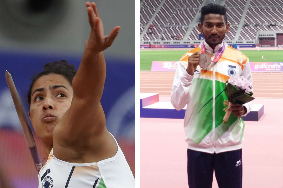 Javelin thrower Annu Rani (left) and 3000m steeple chaser Avinash Sable won a silver medal each at the Asian Athletics Championships