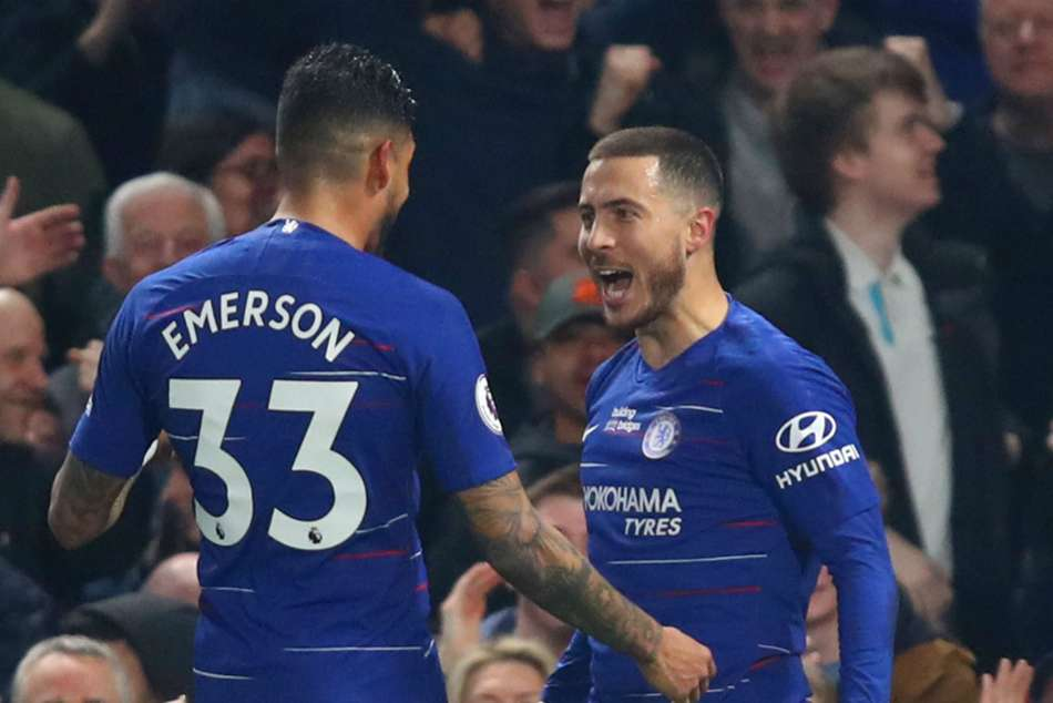 Chelseas Eden Hazard (right) celebrates after scoring a double