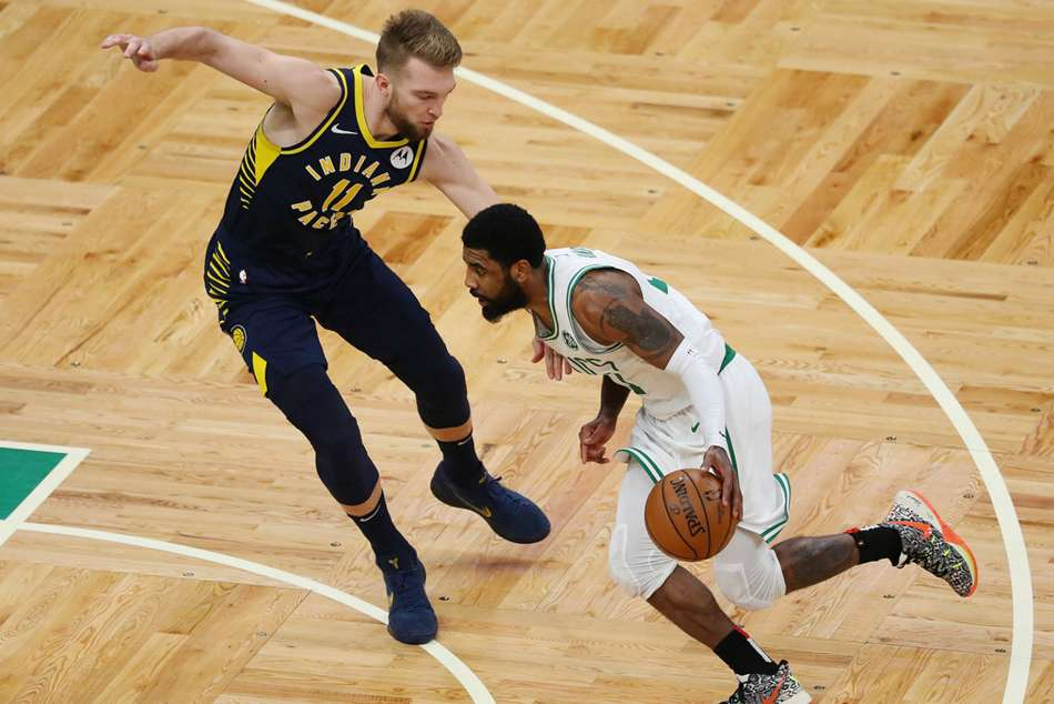 Boston Celtics Kyrie Irving in action against Indiana Pacers