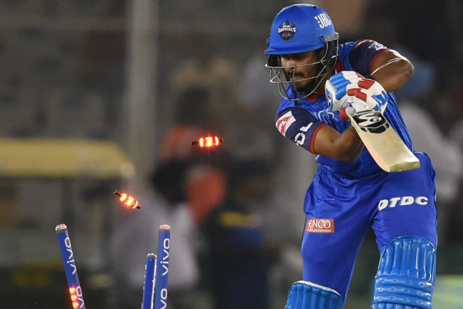 Delhi Capitals Shreyas Iyer bowled during their IPL match against Kings XI Punjab