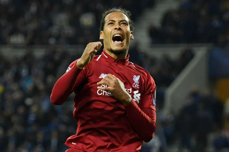 Virgil van Dijk celebrates after scoring one of Liverpools four goals