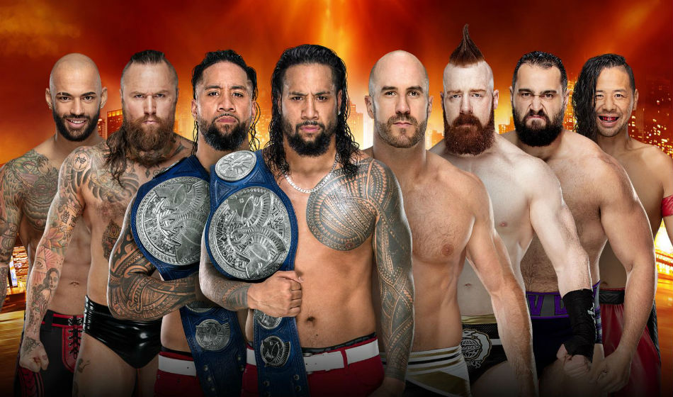 Image result for wrestlemania 35 The Usos (c) vs. The Bar vs. Aleister Black & Ricochet vs. Rusev & Shinsuke Nakamura