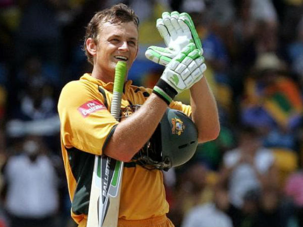 On completing his century, Adam Gilchrist raised his left hand and showed off his glove and curiously, it had a lump in the middle.