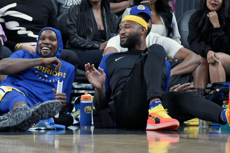 DeMarcus Cousins, right, and Kevin Durant continue to recover from injuries
