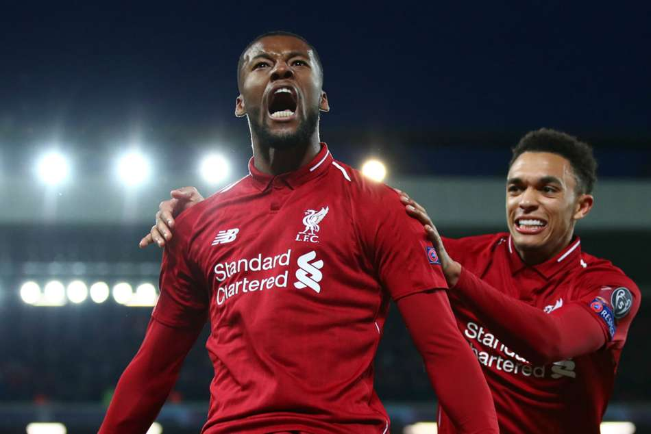 Liverpools Georginio Wijnaldum celebrates after scoring a brace