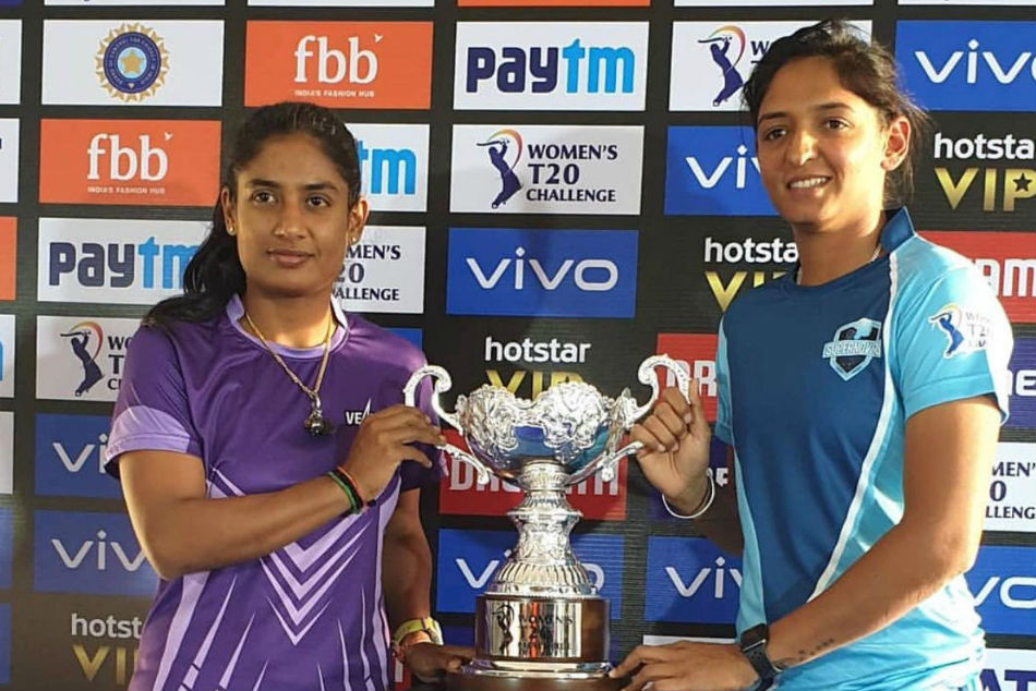 Mithali Raj and Harmanpreet Kaur (right) pose with the Womens T20 Challenge title (image Courtesy: Twitter)