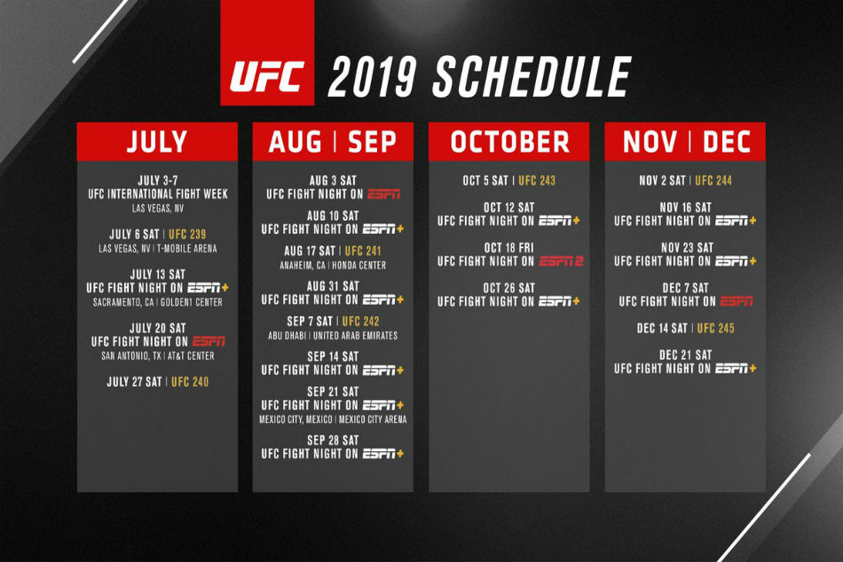The Q3 and Q4 2019 event dates for UFC (Image Courtesy: Twitter)