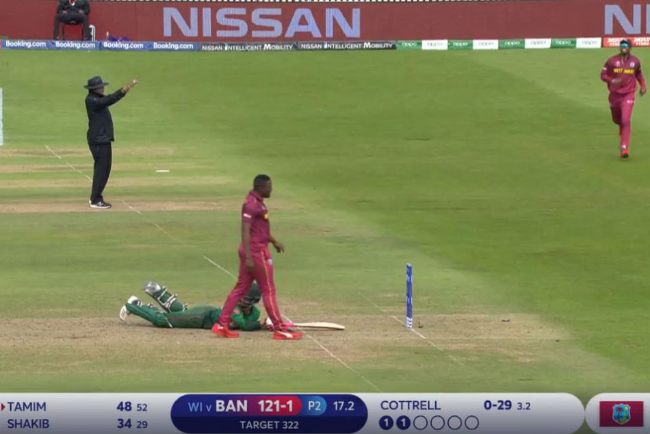 Icc World Cup 2019 Sheldon Cottrell S Superb Reflex Throw Runs Tamim Iqbal Out Watch