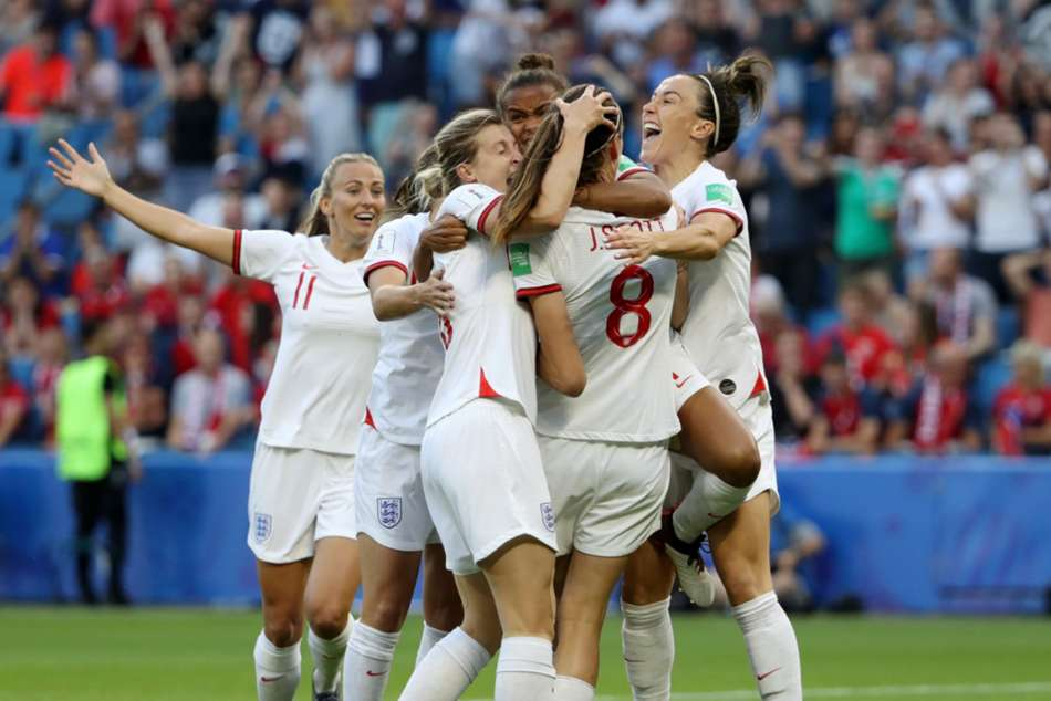 England celebrate after reaching second consecutive Womens World Cup semi-final