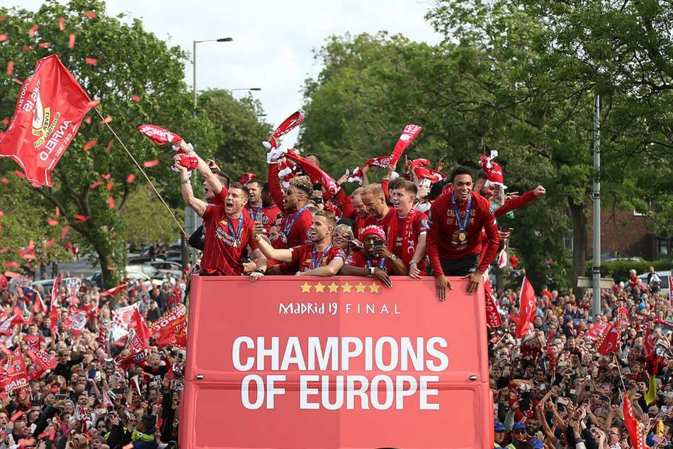 Liverpool Parade Champions League Trophy Huge Crowds