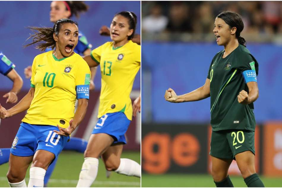 Marta (left) made history for Brazil, while Sam Kerr helped Australia cruise past Jamaica