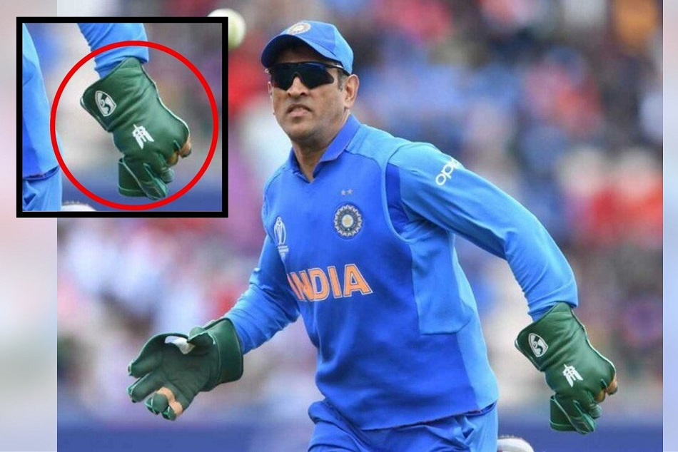MS Dhoni sports keeping gloves with Indian Army insignia